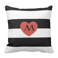 Black and White Striped Pillow with Monogram Heart