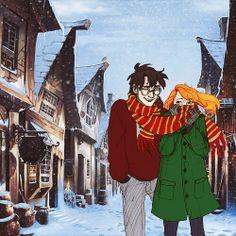 harry and ginny -hogsmeade-  burdge