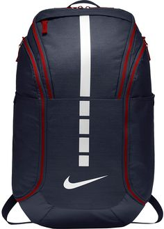 Nike Hoops Elite Hoops Pro Basketball Backpack Obsidian Blue/Red/White -- You can get more details by clicking on the image. (This is an affiliate link) Girls Basketball Shoes, Basketball Design, Pro Basketball, Adidas Basketball Shoes, Basketball Season, Basketball Outfits, Basketball Birthday, Basketball Players, Shopping