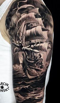 70 Tatuagens masculinas na parte superior do braço Fotos e Tatuagens Sailor Tattoos, Ocean Tattoos, Forearm Tattoos, Body Art Tattoos, Tattoo Ink, Best Sleeve Tattoos, Tattoo Sleeve Designs, Tattoo Designs Men, Ship Tattoo Sleeves