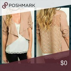 """Tan Drape Blazer w/ Crotchet Back Great layering piece that you can dress up or down. Sheer crotchet back. Drape front. Adjustable sleeves. 100% rayon.   Small: Length: 24"""" Pit to pit: 17""""  Medium: Length: 23"""" Pit to pit: 18""""  Large: Length: 24"""" Pit to pit: 19"""" Available by Angela Fashion Jackets & Coats Blazers"""