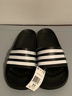efb9950a574f38 ADIDAS Black White DURAMO SLIDES ATHLETIC SANDALS SPORT MENS 11 NEW   fashion  clothing