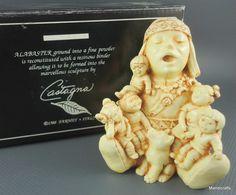 Castagna Italy #Storyteller Treasure #Box Figurine Native Indian Alabaster 1998 #Castagna