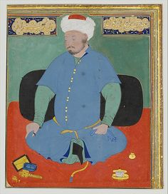 Portrait of Muhammad Khan Shaibani, the Uzbek (d.1510), 16th century. Islamic; present-day Uzbekistan, Bukhara. The Metropolitan Museum of Art, New York. Cora Timken Burnett Collection of Persian Miniatures and Other Persian Art Objects, Bequest of Cora Timken Burnett, 1956 (57.51.29) | This painting, considered a portrait of the Shaibanid ruler Muhammad Khan, surrounds its subject with the accoutrements of culture—ink pots, pen cases, and books. #mustache #movember