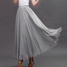 Light Gray Chiffon Maxi Skirt with Extra Wide Hem - Long Grey ...
