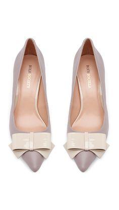 Grey bow kitten heels