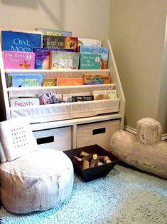 toddler reading corner with log seats