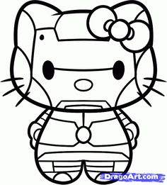 Iron Man Hello Kitty Coloring Sheet #SuperHero #SuperHeroes #Hero #Heroes #ColoringSheets #HelloKitty #IronMan