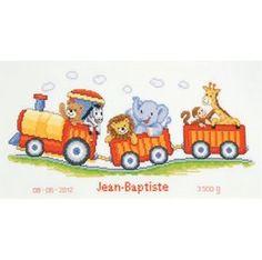 Animal Train Birth Record: Cross stitch (Vervaco, PN-0145025)