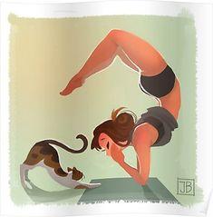 'Yoga Time' Poster by Julia Blattman Mode Poster, Poster S, Thé Illustration, Illustrations, Character Illustration, Yoga Cartoon, Yoga Drawing, Character Art, Character Design