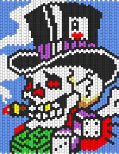 Ed Hardy Skull In Top Hat bead pattern