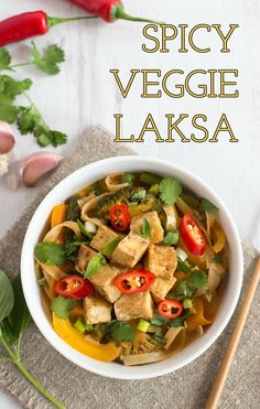Spicy veggie laksa with crispy tofu