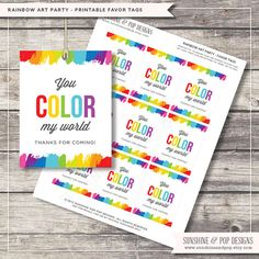 INSTANT DOWNLOAD - Rainbow Art Party Favor Tags - great for thank you gifts, party decorations Thank You tags Paint Party - DIY Printable on Etsy, $4.99