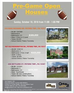 All of these fantastic #homesforsale will be OPEN this SUNDAY October 16 from 11-1 PM! Stop by to find your #newhome! #Pittsburgh #OpenHouse