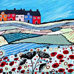 ARTFINDER: Balamory in Bloom by Caroline Duncan - Original acrylic painting of a Scottish landscape scene. Houses in Balamory Scotland.   I have made this into an impressionistic landscape style with quirk...