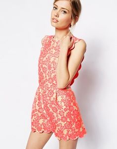 ASOS Playsuit in Fluro with Scallop Detail
