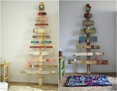 Christmas tree for small space Wood Christmas Tree, Vintage Christmas, Christmas Holidays, Christmas Crafts, Christmas Decorations, Holiday Decor, Christmas Ideas, Christmas Things, Holiday Ideas