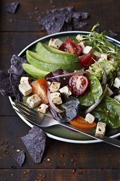Experiment with your salads! Mexican Tofu Tortilla Salad with Avocado (dairy-free, gluten-free, and vegan)