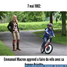 May 7th, 1982: Emmanuel Macron learns how to ride a bicycle with his wife Brigitte.