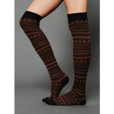 Free People Mountain Peaks Tall Sock - Navy / Rust One Size