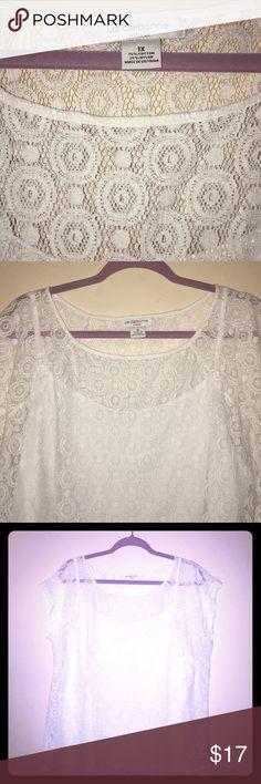 Liz Claiborne white lace blouse Liz Claiborne White Lace blouse with silky white T underneath.  Never worn. Liz Claiborne Tops Blouses