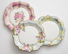Floral Print Paper Plates Cups Napkins 12 Plates 12 Cups 30 Napkins Vintage Flower  sc 1 st  Pinterest & 36 FLORAL TEA PARTY Paper Plates Parisian Vintage Style Shabby Chic ...