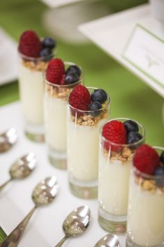 Parfait in tall glasses! Cute for a party snack.