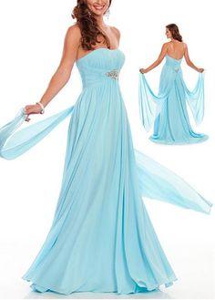 Fabulous Chiffon A-line Strapless Slightly Scoop Neckline Empire Waist Floor Length Prom Dress With Beading and Rhinesto