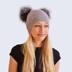 28a7f931610 Adult double fur pom pom bobble hat in Light Grey Fine rib knit double fox fur  pom pom hat