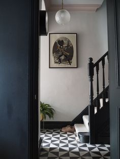 Black And White Hallway, Black Stairs, Black And White Tiles, Black Painted Stairs, Dark Grey Hallway, Black And White Interior, Victorian Terrace Hallway, Edwardian Hallway, Victorian Stairs