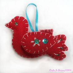 Christmas Ornament Turtle Dove Festive Home by CraftyJoDesigns