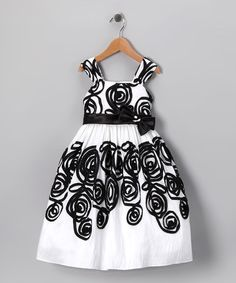 Take a look at this White & Black Ribbon Swirl Dress - Toddler & Girls by C.I. Castro on #zulily today!