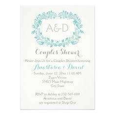 Aqua blue foliage initials wedding couples shower 5x7 paper invitation card