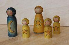 Summer Solstice !! Nature's Star Children - Natural Wooden Toy - Set of 3, via Etsy.