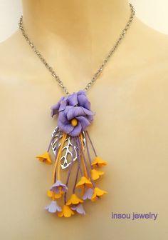 Flower jewelry  Malva  Flower necklace  Handmade by insoujewelry