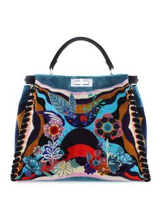 471df44ddae1 Fendi Peekaboo Large Embroidered Velvet Bag