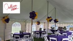 """Blue and Yellow balloon clusters add the perfect """"POP"""" of color to the interior of an outdoor tent. Balloon Clusters, Yellow Balloons, Outdoor Parties, Summer Wedding, Color Pop, Tent, Weddings, Interior, Party"""