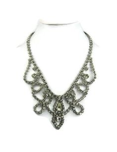 Weiss Rhinestone Necklace Silver Tone Clear by VintageSparkleyBits