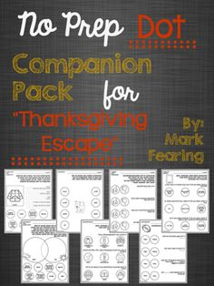 Thanksgiving time - Black and white companion pack that targets NINE different skills!