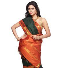 Forest Green Handloom Pure Kanchipuram Silk Saree with Blouse