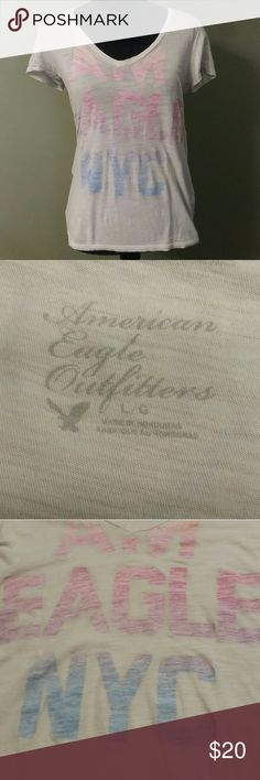 American Eagle outfitters tee rainbow lettering 17in bust  Length 25in American Eagle Outfitters Tops Tees - Short Sleeve