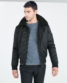 ZARA - MAN - JACKET WITH FUR COLLAR