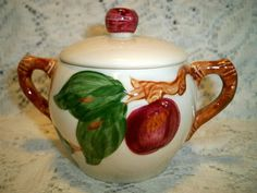Vintage Franciscan China Apple Sugar Bowl with Lid. , via Etsy.