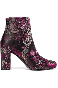Heel measures approximately 90mm/ 3.5 inches Multicolored brocade Zip fastening along side  Designer color: Lipstick Red Made in Italy