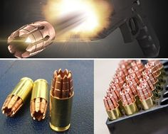 RIP ammo 9 mm...One bad ass round !!!! 16″ Penetration * Up to 6″ diameter spread * 96 gr projectile * 2″ grouping at 25 yds * 1265 FPS / 490 Muzzle Energy * 9 Separate Wound Channels * Precision Machined * Solid Copper / Lead Free