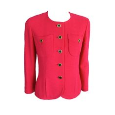 Vintage CHANEL 1980's era fuchsia wool boucle jacket