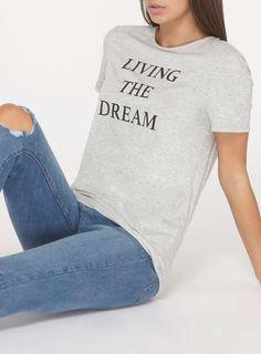 Womens **Tall Grey 'Living The Dream' Motif T-Shirt- Grey