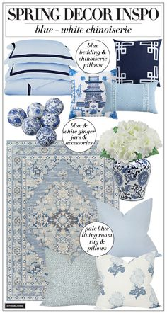 Chinoiserie, Decorating Your Home, Decorating Ideas, Decor Ideas, Living Room Pillows, Rug, Spring Party, Spring Home Decor, Ceiling Decor