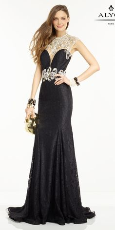 Alyce Prom 6550 You will look and feel glamorous in this long lace dress, with a cascading train, a sheer illusion neckline with stones, a jeweled waistban Mermaid Prom Dresses Lace, Open Back Prom Dresses, Prom Dresses 2016, Evening Dresses, Formal Dresses, Elegant Dresses, Lace Mermaid, Formal Wear, Casual Dresses