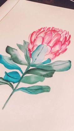 Watercolor Painting Techniques, Watercolour Painting, Watercolor Flowers, Watercolor Hummingbird, Protea Art, Line Art Flowers, Flower Art, Small Canvas Art, Illustration Blume